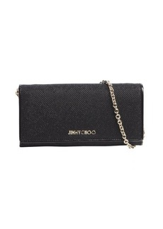 Jimmy Choo black glitter fabric logo imprint convertible continental wallet