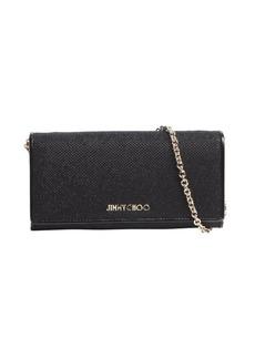 Jimmy Choo black glitter fabric logo imprint convertible continental wallet