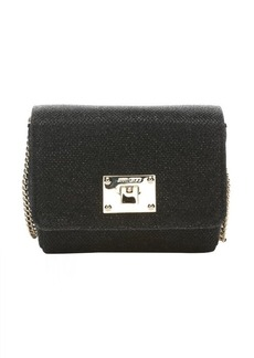 Jimmy Choo black glitter fabric 'Ruby' mini shoulder bag