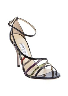 Jimmy Choo black lather snake embossed strappy heel sandals