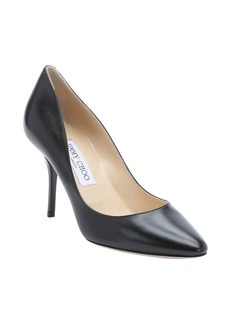 Jimmy Choo black leather '247Mei' patent heel pumps