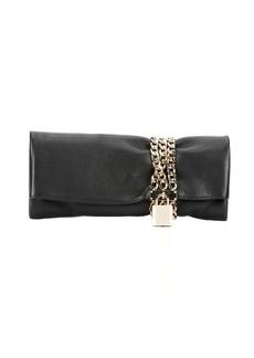 Jimmy Choo black leather and chain 'Chandra' padlock clutch