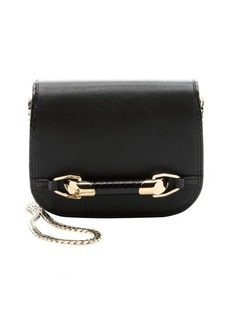 Jimmy Choo black leather and elaphe 'Sadie' flap front cross body bag