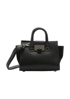 Jimmy Choo black leather and suede 'Riley' small convertible trapeze tote