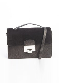 Jimmy Choo black leather and suede 'Romy' convertible top handle shoulder bag