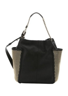 Jimmy Choo black leather 'Anna' studded hobo shoulder bag