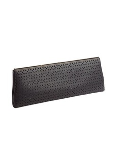 Jimmy Choo black leather 'Ciggy' petal perforated clutch