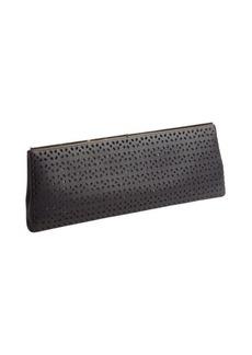 Jimmy Choo black leather 'Ciggy' petal perforated clutch