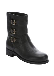 Jimmy Choo black leather 'Dancy' buckle detail biker boots