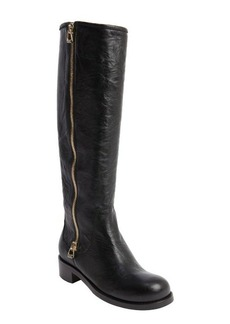 Jimmy Choo black leather 'Doreen' zipper detail biker boots