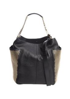 Jimmy Choo black leather gold studded 'Anna' shoulder bag