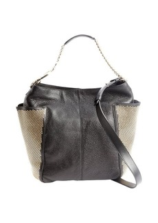 Jimmy Choo black leather gold studded 'Anna' shoulder bag