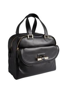 Jimmy Choo black leather 'Justine' slide bar large satchel