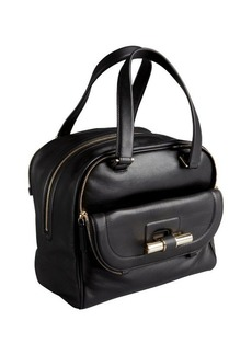 Jimmy Choo black leather 'Justine' slide bar satchel
