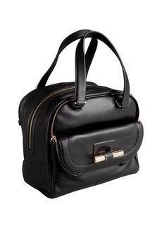 Jimmy Choo black leather 'Justine' slide bar satchel