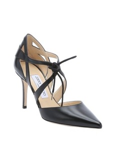 Jimmy Choo black leather 'Lusion' lace-up pumps