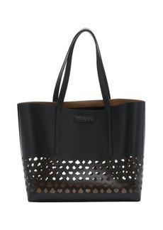 Jimmy Choo black leather medium 'Sara' cutout tote