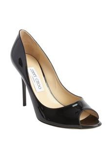 Jimmy Choo black leather peep toe 'Mia' pumps