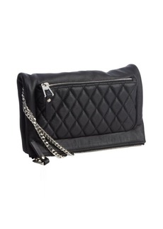 Jimmy Choo black leather quilted fold over crossbody bag