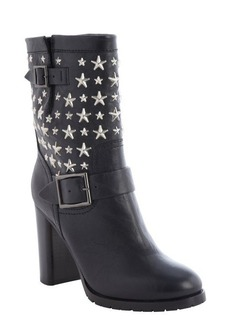 Jimmy Choo black leather silver star biker boots