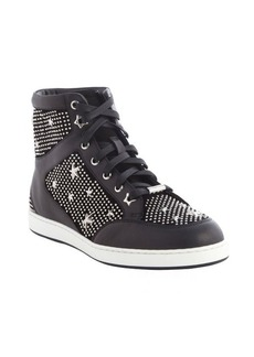 Jimmy Choo black leather silver studded high top sneakers