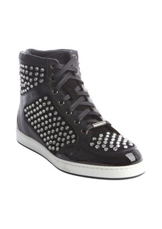 Jimmy Choo black leather studded high tops
