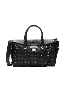 Jimmy Choo black leather studded 'Rosa' convertible tote