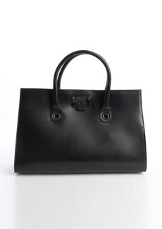Jimmy Choo black leather top handle 'Riley' tote