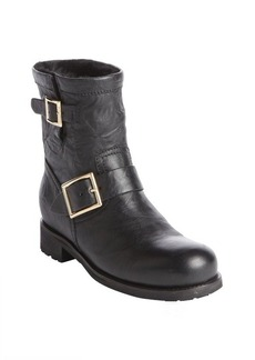 Jimmy Choo black leather 'Youth' rabbit fur lined biker boots