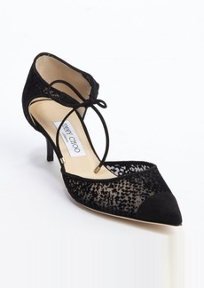 Jimmy Choo black mesh canvas and suede felt detail 'Vacant' kitten pumps