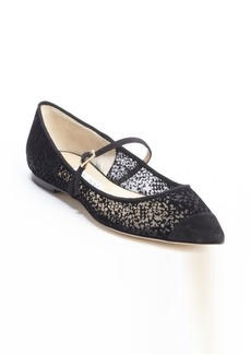 Jimmy Choo black mesh canvas and suede pointed cap toe flats