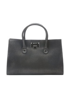 Jimmy Choo black metallic grained leather 'Riley' tote bag