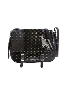 Jimmy Choo black mixed leather perforated quilted small 'Becka Biker' bag