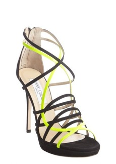 Jimmy Choo black neon suede strappy pumps