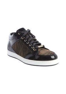 Jimmy Choo black patent leather and amber canvas 'Miami' sneakers