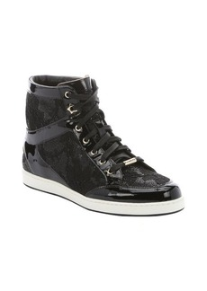 Jimmy Choo black patent leather and glitter lace 'Tokyo' hi-top sneakers