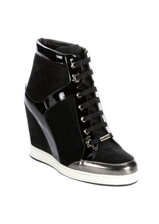 Jimmy Choo black patent leather and suede 'Panama' wedge sneakers