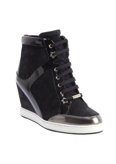 Jimmy Choo black patent leather and suede 'Preston' lace up wedged sneakers