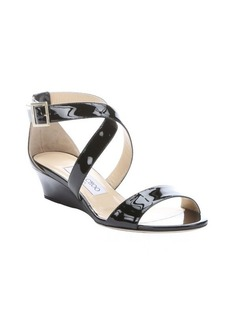Jimmy Choo black patent leather 'Chiara' strappy wedge sandals