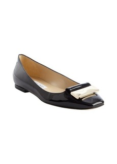 Jimmy Choo black patent leather 'Harlow' buckle detail flats