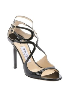 Jimmy Choo black patent leather 'Lang' strappy sandals