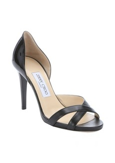 Jimmy Choo black patent leather leather 'Vikra' peep-toe pumps