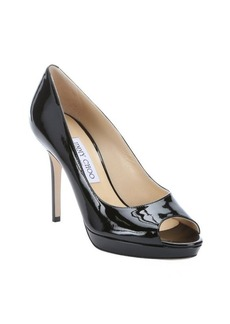 Jimmy Choo black patent leather 'Luna' peep toe pumps