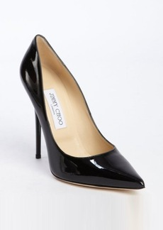Jimmy Choo black patent leather pointed toe 'Anouk' pumps