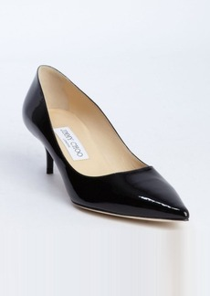 Jimmy Choo black patent leather pointed toe 'Aza' kitten pumps