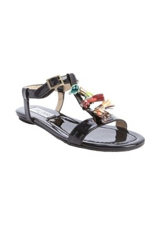 Jimmy Choo black patent leather tassel flat 'Nettle' sandals