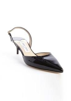 Jimmy Choo black patent leather 'Tide' slingback pumps