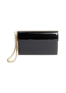 Jimmy Choo black plastic 'Carmen' logo imprinted evening clutch