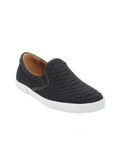 Jimmy Choo black python embossed leather slip on sneakers