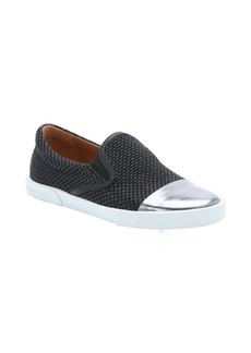 Jimmy Choo black raffia and anthracite patent leather cap toe slip-on sneakers